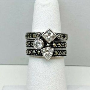 JUDITH JACK Stacking Diamond Sterling Silver Rings